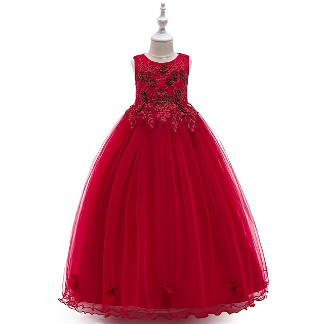 Princess Dress Flower Girl Dress Girls' Movie Cosplay A-Line Slip Cosplay Red / Blue / Beige Dress Halloween Carnival Masquerade Tulle Polyester