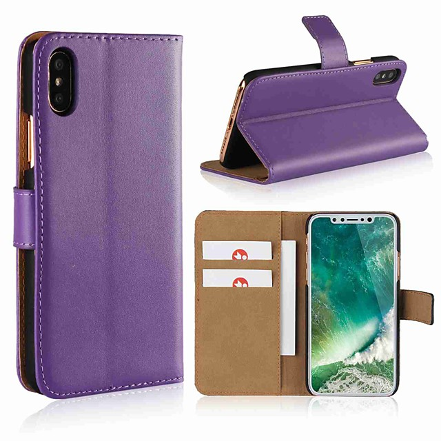 Case For Apple iPhone X / iPhone 8 Plus / iPhone 8 Wallet / Card Holder / with Stand Full Body Cases Solid Colored Hard Genuine Leather
