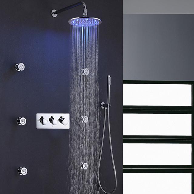 Contemporary Bath Shower Faucet Set / 10 Inch Round Rain LED Bathroom Shower Head / Brass Hand Shower Included / 6 PCS SPA Massage Body Sprayer Jets Bath Shower Mixer Taps
