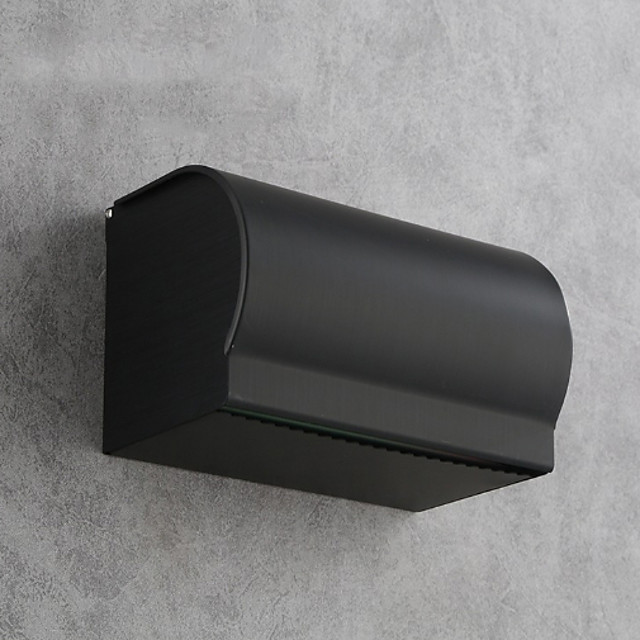 Toilet Paper Dispenser Wall Mounted Mattle Black Aluminum Toilet Paper Dispenser-Toilet Roll Box for Bathroom Wall Mounted