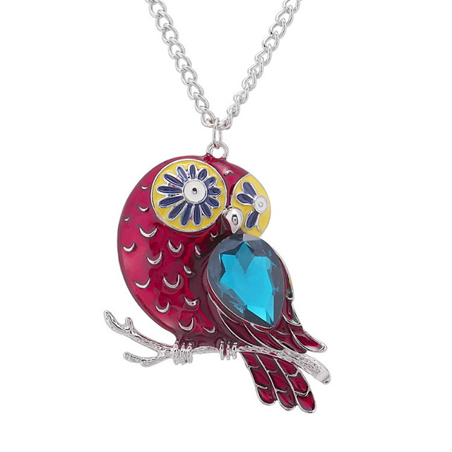Women's Charms Stylish Long Owl Ladies Unique Design Vintage Hyperbole Glass Alloy White / Red Gold / White White / Blue White / Green Gold Necklace Jewelry 1pc / pack For Wedding Carnival