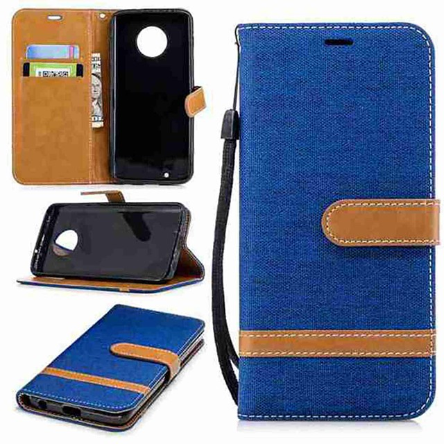 Case For Motorola MOTO G6 / Moto G5 Plus / Moto G5 Wallet / Card Holder / with Stand Full Body Cases Solid Colored Hard Textile / Moto G4 Plus
