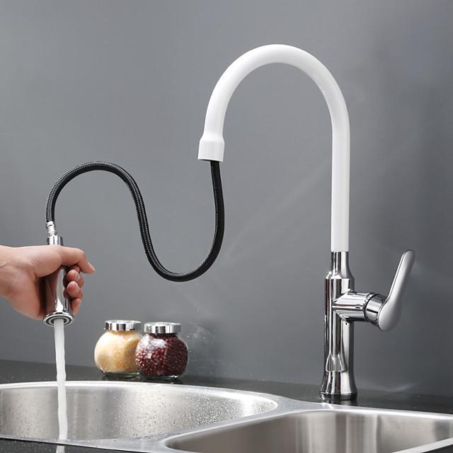 Kuhinja pipa - Jedan Ručka jedna rupa Slikano završi Pull-out / Pull-down / Standardna lijevak Munkalapra szerelhető Suvremena Kitchen Taps