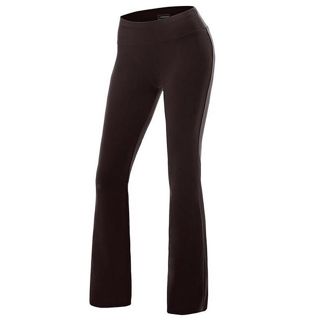 Women's Yoga Pants Flare Leg Pants / Trousers Butt Lift White Black Fuchsia Spandex Cotton Zumba Running Dance Sports Activewear Stretchy Slim