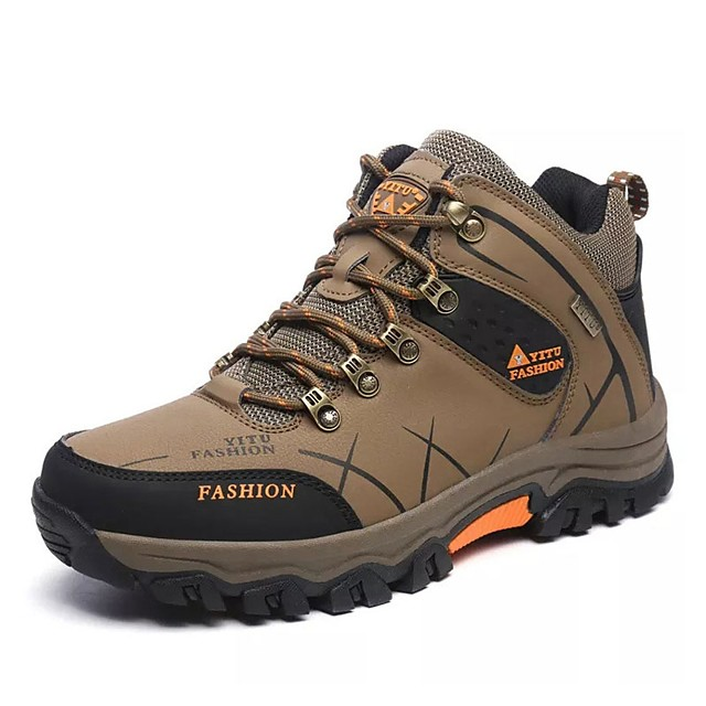 Men's Hiking Shoes Hiking Boots Thermal Warm Shock Absorption Non-Skid Comfortable High-Top Non-slip Steel Buckle Outsole Pattern Design Hiking Climbing Mountaineering Autumn / Fall Winter Black Army