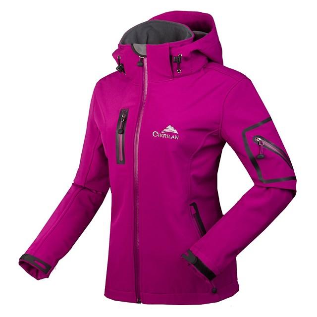 Women's Hiking Softshell Jacket Hiking Jacket Winter Outdoor Solid Color Waterproof Windproof Breathable Rain Waterproof Jacket Winter Jacket Top Fleece Nylon Softshell Single Slider Ski / Snowboard