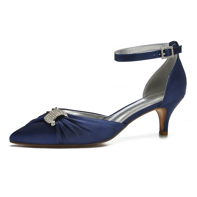 Women's Wedding Shoes D'Orsay & Two-Piece Kitten Heel Pointed Toe Wedding Party & Evening Satin Rhinestone Sparkling Glitter Buckle Solid Colored White Black Purple