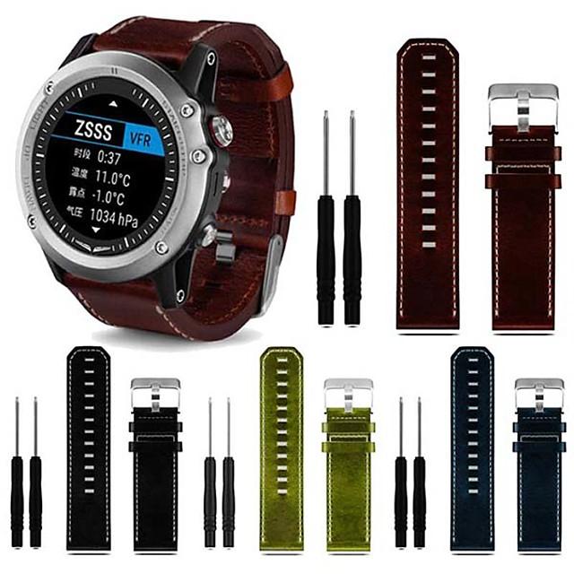 Bracelet de montre connectée pour Garmin 1 pcs Bracelet Sport Vrai Cuir Remplacement Sangle de Poignet pour Fenix 5x Fenix 3 HR Fenix 3