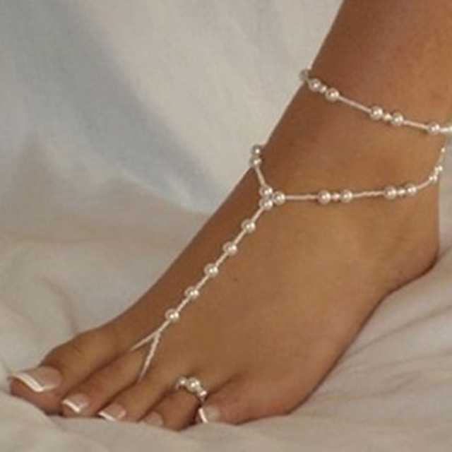 Women's Barefoot Sandals Beads Romantic Imitation Pearl Anklet Jewelry White For Street Going out
