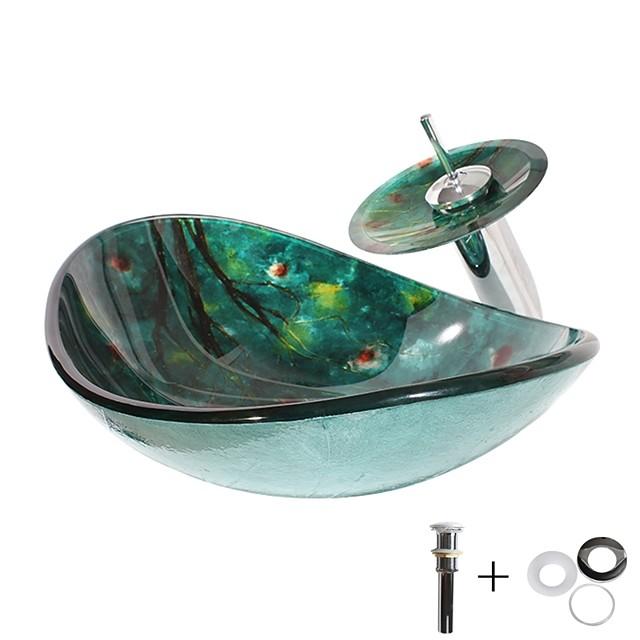 modern enkel tvättställ av härdat glas med kromfinish, rektangulär handfatvattenkran
