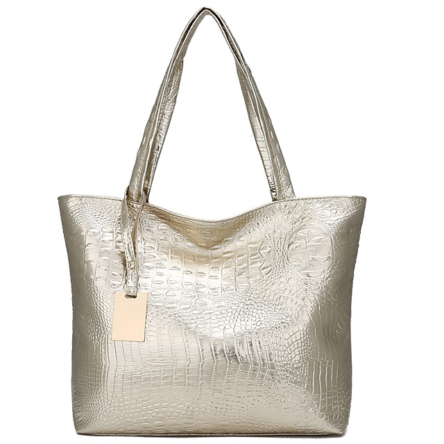 Women's Bags PU Leather Tote Embossed for Daily Black / Gold / Silver