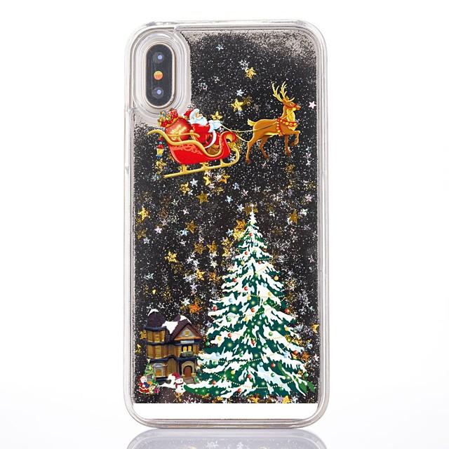 Θήκη Za Apple iPhone XS / iPhone X / iPhone 8 Plus S tekućinom / Prozirno / Uzorak Stražnja maska Božić Tvrdo PC