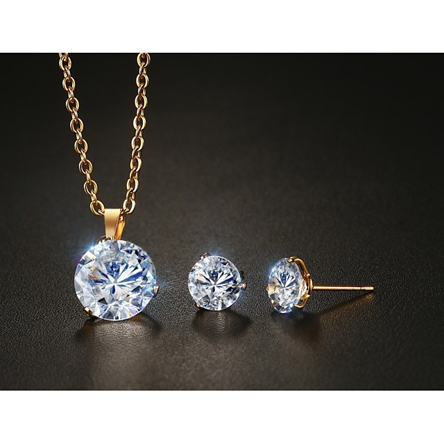 Cubic Zirconia Rolling Circle Pendant Necklace For Women Party Gift Jewelry