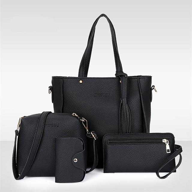 Žene Torbe PU koža Bag Setovi 4 kom S resicama Kompleti za vrećice Šoping Spoj Crn Red Blushing Pink Braon