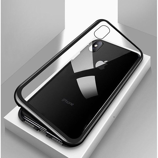Magnetic Case for Apple iPhone 11 iPhone XR Mobile Phone Case Single Sided Metal Magnet Adsorption Tempered Glass Protective Case for iPhone 11 Pro Max SE2020 XSMAX XS X iPhone 8 Plus 7 Plus