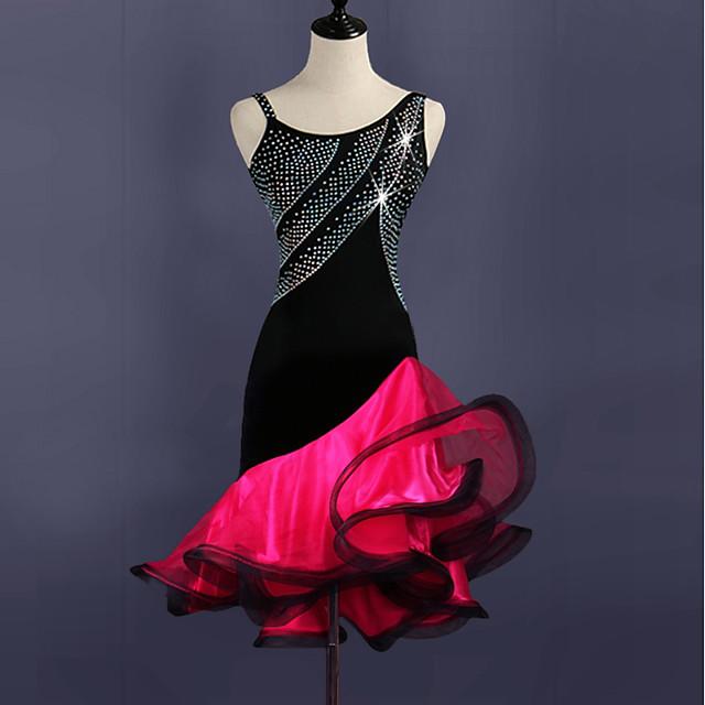 Latin Dance Dresses Women's Training Spandex / Tulle Crystals / Rhinestones Sleeveless High Dress