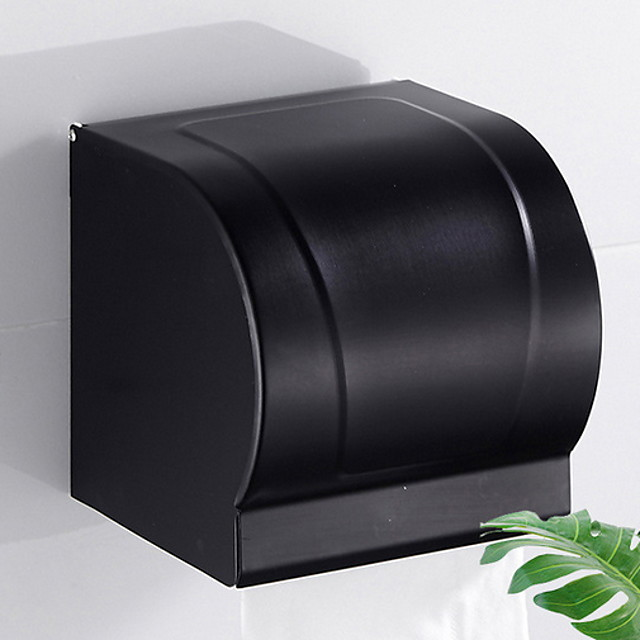 Toilet Paper Holder Contemporary Aluminum Wall Mounted Toilet Paper Roll Holder Matte Black 1pc