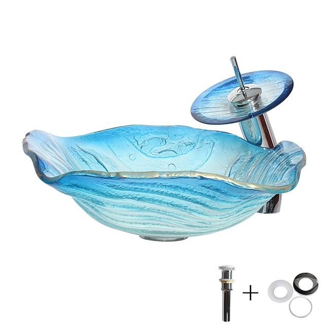 อ่างล้างหน้า / ก๊อกน้ำในห้องน้ำ / อ่างล้างหน้าอ่างล้างหน้าแบบวงแหวน - กระจกเทมเปอร์อ่างล้างจานกลม