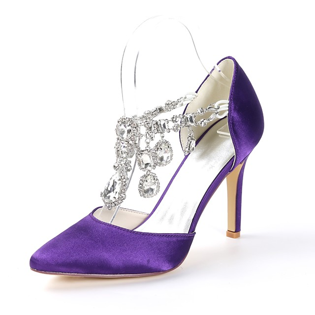 Women's Pumps Satin Spring & Summer Minimalism Wedding Shoes Stiletto Heel Pointed Toe Rhinestone Light Pink / Dark Purple / Ivory / Party & Evening