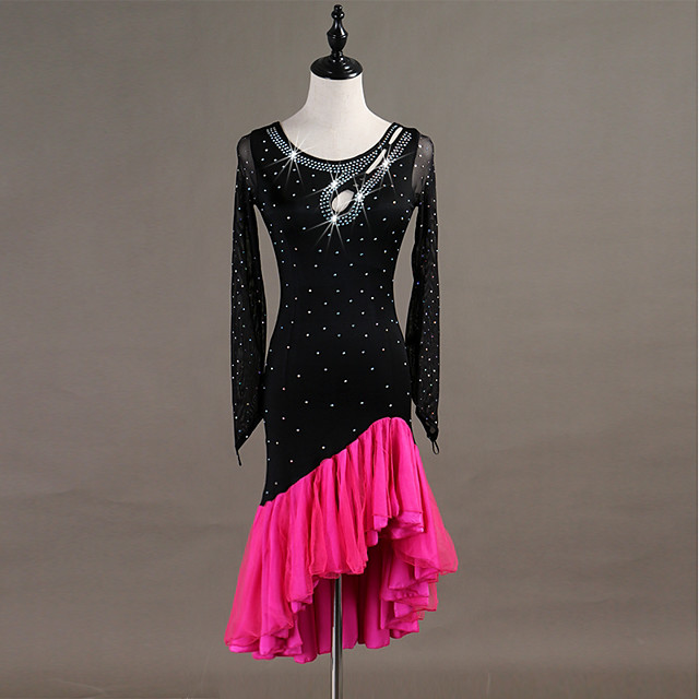 Latin Dance Dress Tassel Crystals / Rhinestones Women's Training Long Sleeve High Spandex Tulle