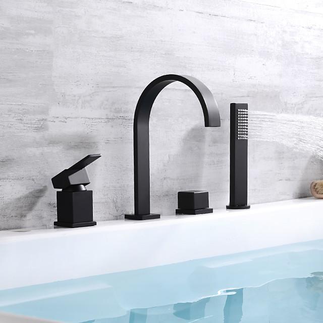 Bathtub Faucet - Contemporary Painted Finishes Deck Mounted Brass Valve Bath Shower Mixer Taps / Single Handle Four Holes