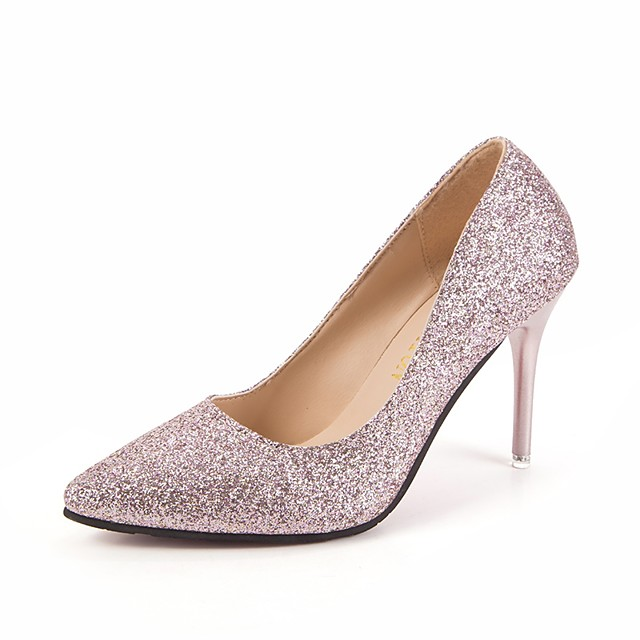 Women's Heels Glitter Crystal Sequined Jeweled Stiletto Heel Pointed Toe Sequin PU Business Spring & Summer Pink / Gold / Silver / Wedding / 3-4 / Pumps