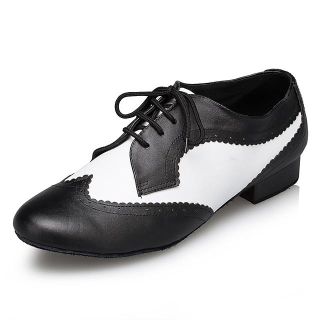 Men's Modern Shoes / Ballroom Shoes Cowhide Sneaker Splicing Thick Heel Dance Shoes Black / White