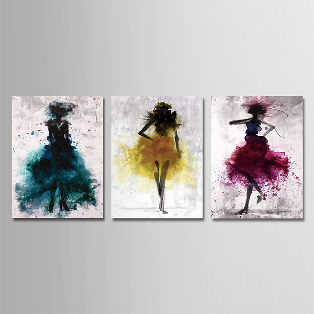 Print Stretched Canvas Prints - Abstract People Modern Three Panels Art Prints