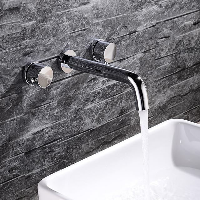 Bathroom Sink Faucet - Premium Design Chrome Wall Installation Two Handles Three HolesBath Taps