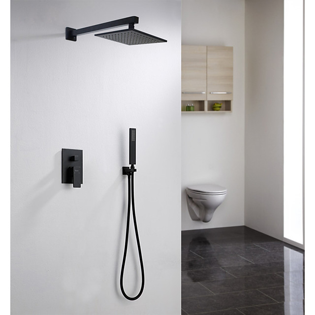 Black Shower System 12 Inch Mount Shower Faucet Set with Square Rain Shower Head and Handheld,Matte Black Combo Set for Bathroom(Rough-in Valve Body and Trim included)