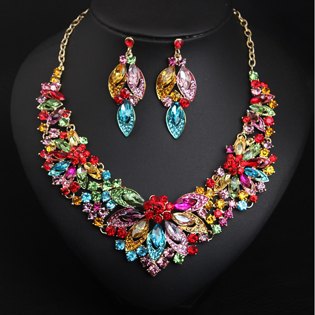 Classic Cubic Zirconia Red Stone Women Leaf Necklace Earrings 3pcs Jewelry Sets