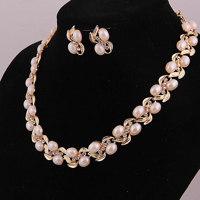 Women's Pearl Earrings Bridal Jewelry Sets Pearl Strands Flower Ladies Stylish Simple Sweet Pearl Rhinestone Silver Plated Earrings Jewelry White / Yellow For Wedding Gift Engagement Party Prom