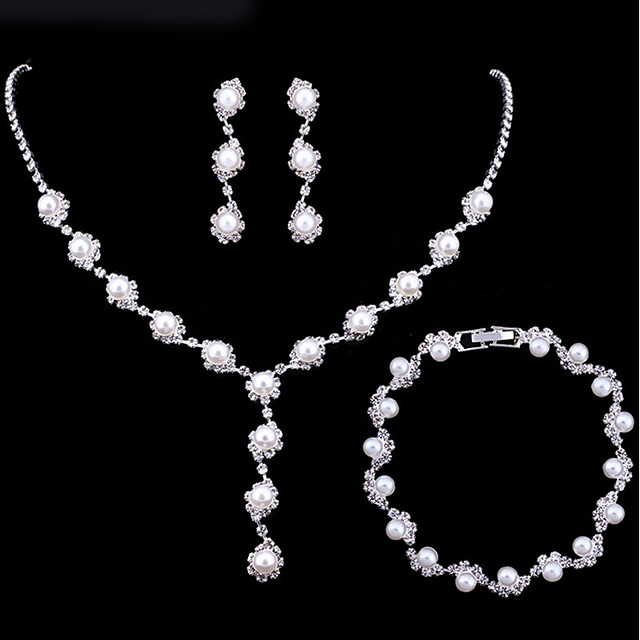 Women's Bridal Jewelry Sets Classic Sweet Elegant Imitation Pearl Earrings Jewelry White For Wedding Party 1 set