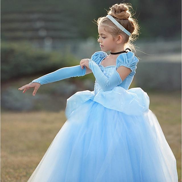 Princess Cinderella Vintage Cosplay Lolita Dress Girls' Costume Purple / Blue Vintage Cosplay Short Sleeve