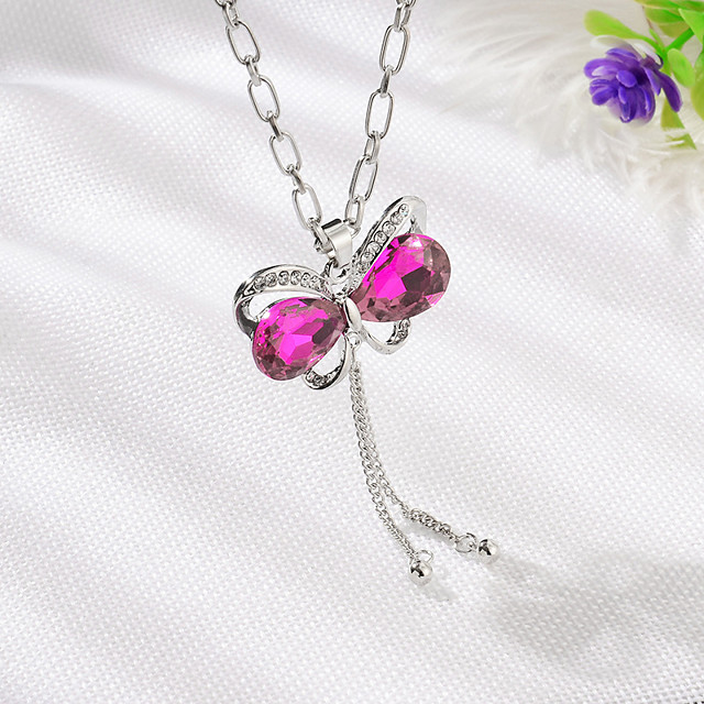Women's Crystal Charms Hollow Out faceter Butterfly Bowknot Ladies Sweet Fashion Rhinestone Alloy Navy White Purple Fuchsia Blue Necklace Jewelry 1pc For Daily Street