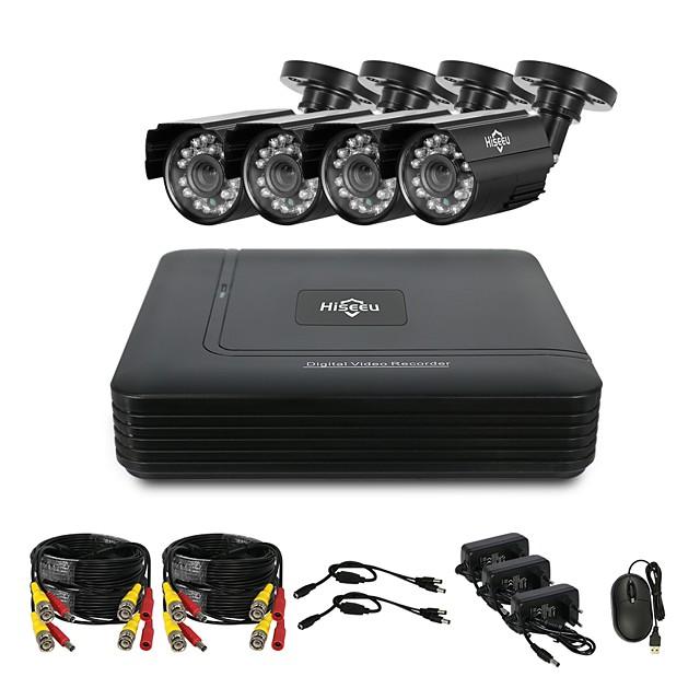 Hiseeu® CCTV 4CH security Camera System set 4pcs 1080P AHD Waterproof street Camera outdoor 2MP video Surveillance Kit home