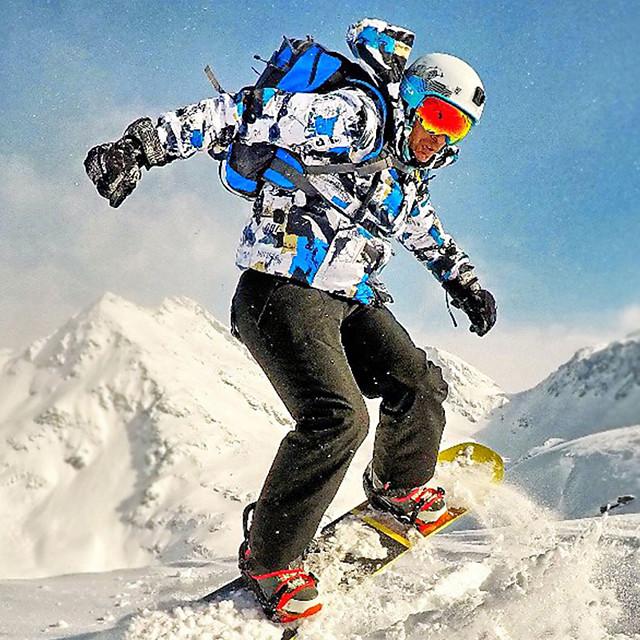 MUTUSNOW Men's Ski Jacket with Pants Ski / Snowboard Winter Sports Waterproof Windproof Breathable Polyester Clothing Suit Ski Wear / Warm