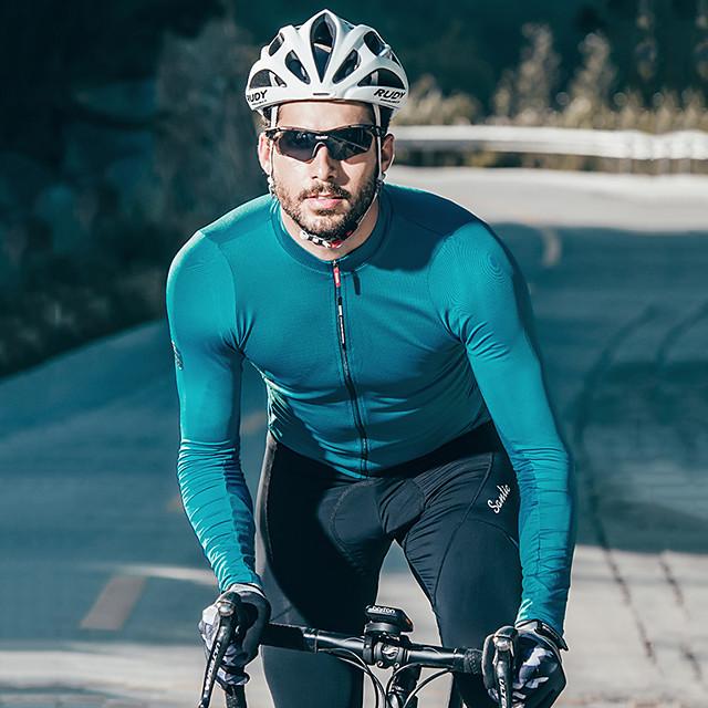 SANTIC Muškarci Dugih rukava Biciklistička majica Zima Wine Red Siva Zelen Bicikl Biciklistička majica Majice Brdski biciklizam biciklom na cesti Ovlaživanje Sportski Odjeća / Mikroelastično