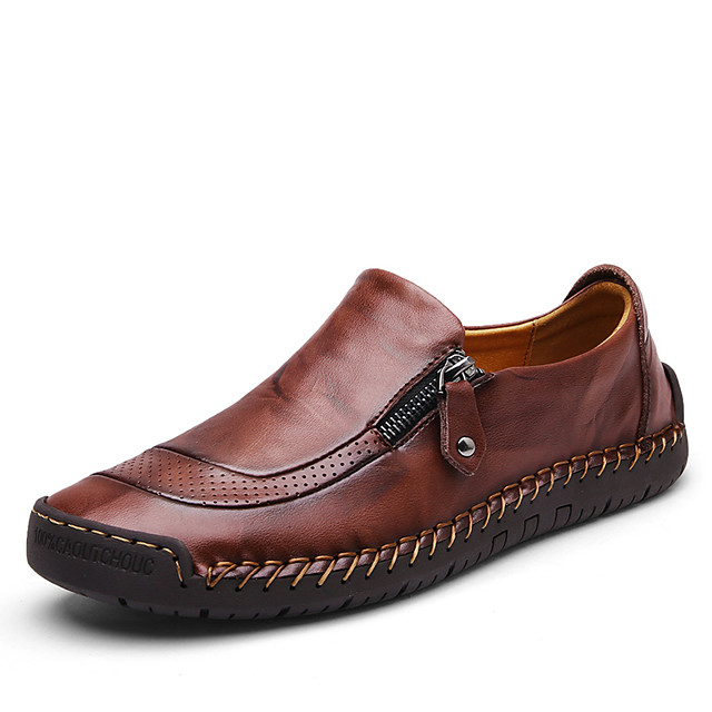 Men's Leather Shoes Leather Spring &  Fall Casual / Chinoiserie Loafers & Slip-Ons Breathable Black / Burgundy / Brown / Office & Career / Driving Shoes / EU41