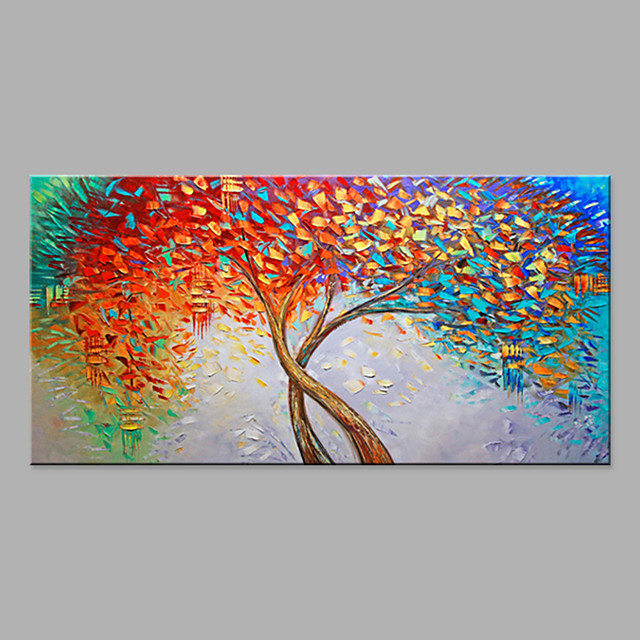 Oil Painting Hand Painted Horizontal Abstract Floral / Botanical Modern Rolled Canvas (No Frame)