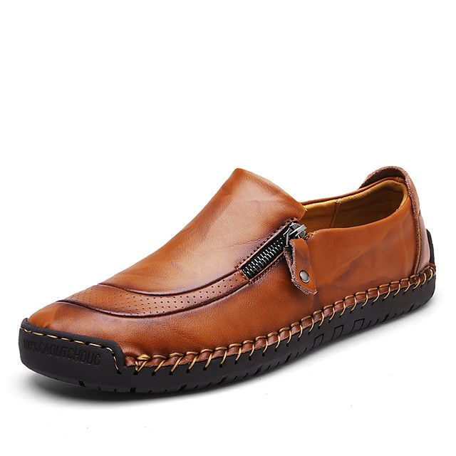 Men's Comfort Shoes Spring / Summer / Fall British / Preppy Daily Outdoor Loafers & Slip-Ons Walking Shoes Nappa Leather Non-slipping Wear Proof Light Brown / Dark Brown / Black / Winter