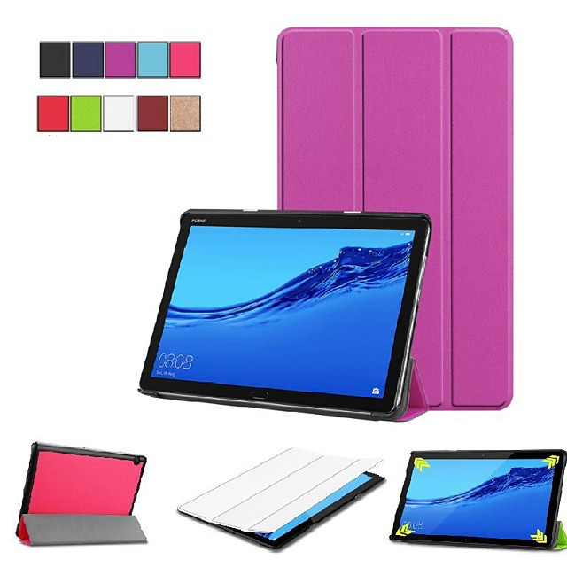 Case For Huawei Huawei Mediapad M5 Lite 10 / Huawei MediaPad M5 10 (Pro) / Huawei MediaPad M5 10 with Stand / Flip / Origami Full Body Cases Solid Colored Hard PU Leather