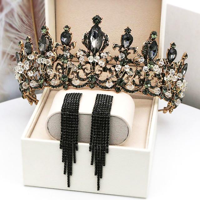 Hoop Earrings Tiaras Forehead Crown Crown Masquerade Gothic Lolita Elegant Baroque Chrome For Princess Fallen Angel Black Swan Cosplay Women's Girls' Costume Jewelry Fashion Jewelry / Crystal