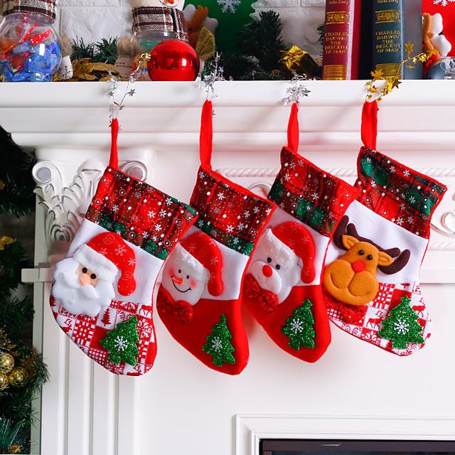Christmas Storage / Christmas Ornaments / Christmas Stockings Non-woven Cube Cartoon / Party / Novelty Christmas Decoration