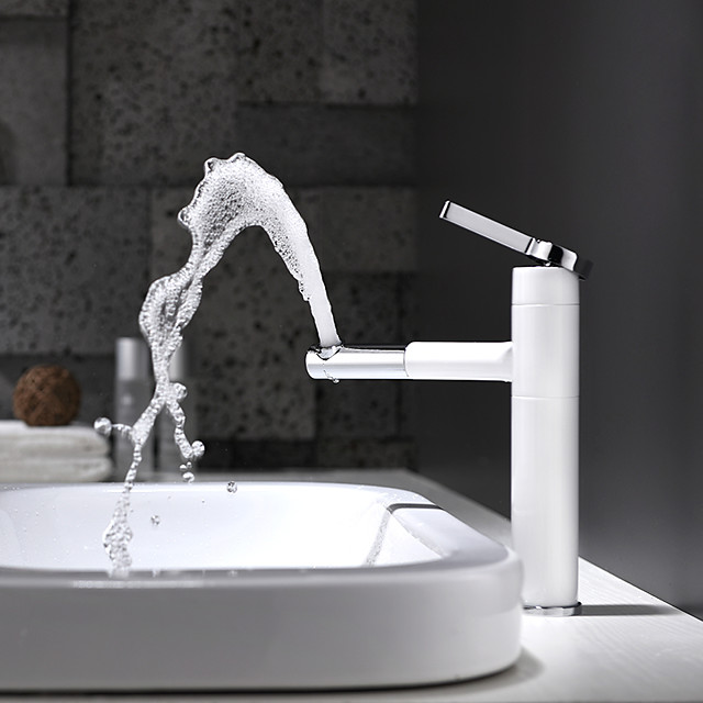 Bathroom Sink Faucet - Rotatable / Premium Design Painted Finishes Deck Mounted Single Handle One HoleBath Taps