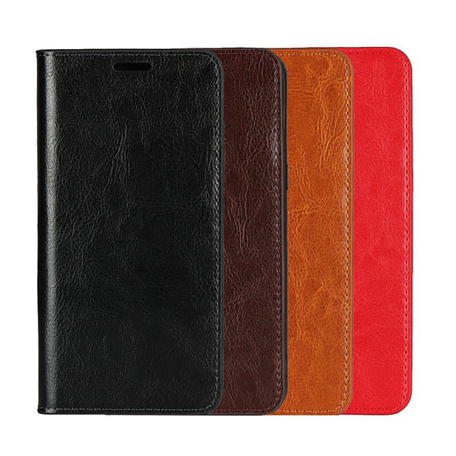 Case For Apple iPhone XS / iPhone XR / iPhone XS Max Wallet / Card Holder / with Stand Full Body Cases Solid Colored Hard Genuine Leather