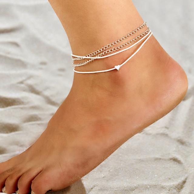 Gležanj Narukvica nakit za noge dame Jednostavan Vintage Žene Nakit za tijelo Za Kauzalni Dnevno Više slojeva Posude Žica Legura Srce Srebro 1pc