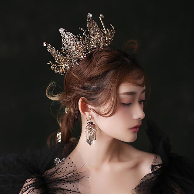 Hoop Earrings Tiaras Forehead Crown Crown Masquerade Vintage Gothic Lolita Baroque Elegant Chrome For Black Swan Cosplay Women's Girls' Costume Jewelry Fashion Jewelry / 1 Pair of Earrings / Crystal