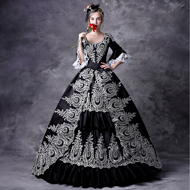 Maria Antonietta Rococo Victorian Medieval Dress Masquerade Women's Lace Costume Black Vintage Cosplay Party Prom 3/4 Length Sleeve Ball Gown Plus Size Customized