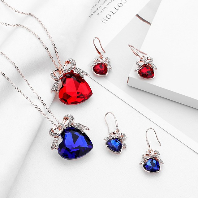 Women's Sapphire Crystal Drop Earrings Pendant Necklace Bridal Jewelry Sets Solitaire Heart Bowknot Ladies Trendy Sweet Fashion Rhinestone Earrings Jewelry Champagne / Red / Blue For Evening Party